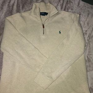 Ralph Lauren Polo 1/4 Zip Up White and Green